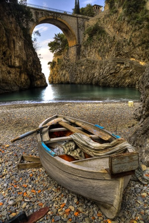 Fiord of Furore, Amalfi coast, Italy  boat in beach Stock Photo - 13030534