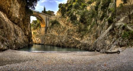 mediterraneo: Furore,italian fishing village of Amalfi coast,panoramica Stock Photo