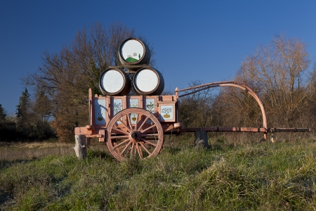 towed: Handcart towed symbol of Val dOrcia (Tuscany)  Italy