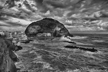 monocrome: Ischia Serrana Fontana  Sant  Angelo fishing village Monocrome