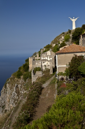 maratea: Overview of the town of Maratea with the statue of Christ in the background