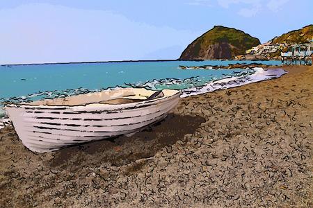 fumarole: Ischia Sant'Angelo vista pueblo de pescadores de la playa de Fumarola