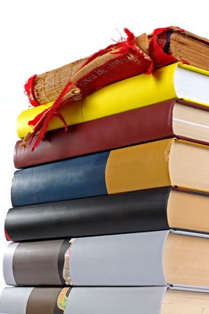 Stack of new books with old book on top Stock Photo - 11926979