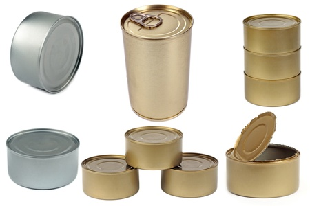 canned food: Set of isolated cans on white background