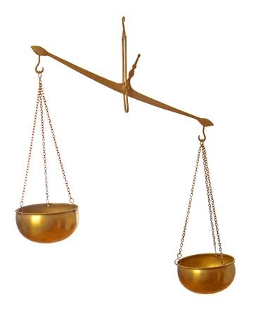 unbalanced: Classical unbalanced scales on white background