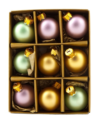 buble: Christmas tree decoration bubbles in golden paper box