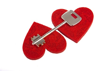 Key on two hearts isolated on white background Stock Photo - 12307038
