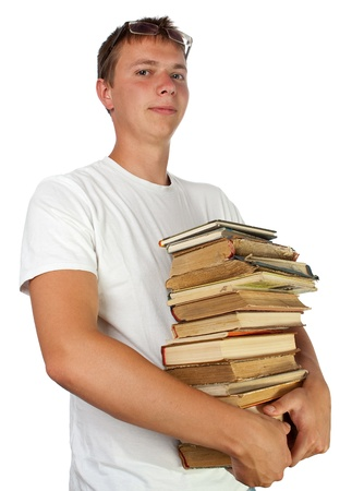 Young male student with spectacles and proud face expression holding stack of books Stock Photo - 12307035