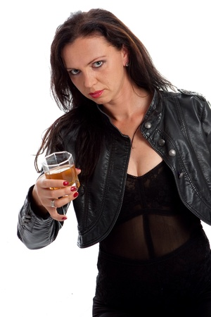Girl in black with whiskey glass against white background photo