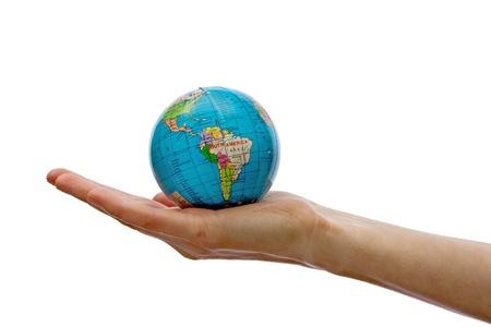 mapa peru: Un globo en la mano aislados Foto de archivo