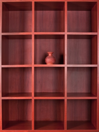 Wooden empty square booshelves photo