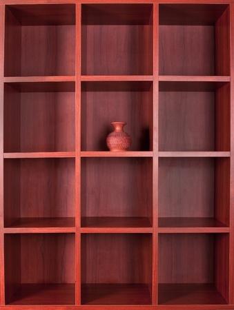 Wooden empty square booshelves photo