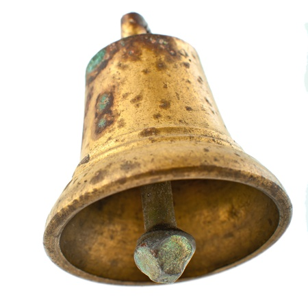 ding: Old bronze bell with stains isolated Stock Photo