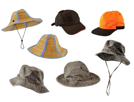 Set of caps and hats isolated on white background