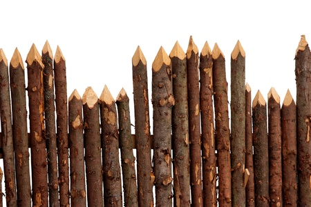 wood log: Wooden fence from logs isolated