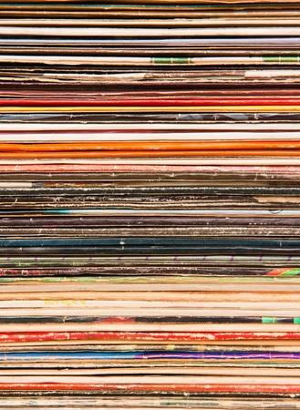 Verticale achtergrond van oude vinyl omvat Stockfoto