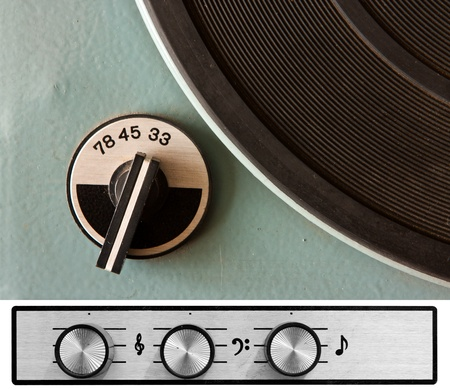 Old dusty vinyl player controls photo