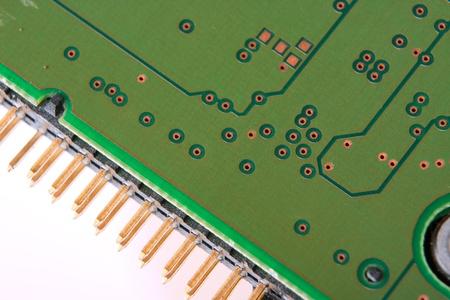 Green circuit board macro photo