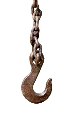 Rusty hook on chain isolated on white photo