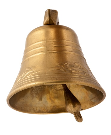 Gold bell isolated on white