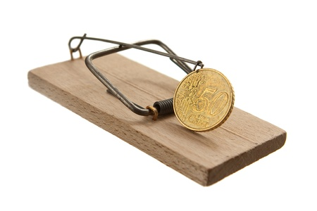 Mouse trap with euro cent coin isolated on white background Stock Photo - 13658428