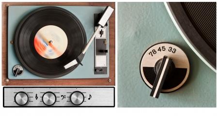Set van oude stoffige vinyl-speler en controleert