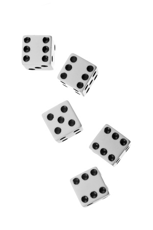 Falling dices isolated on white background photo