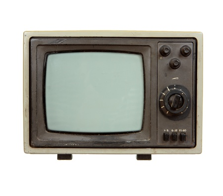 Old portable TV set isolated on white background photo