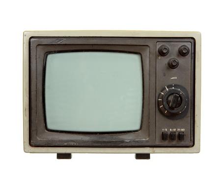 Oude draagbare TV-toestel op een witte achtergrond