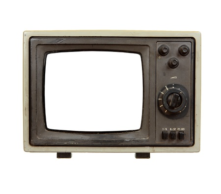 Old portable TV set with blank screen isolated on white background photo