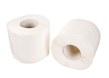 Two rolls of toilet paper isolated on white background photo
