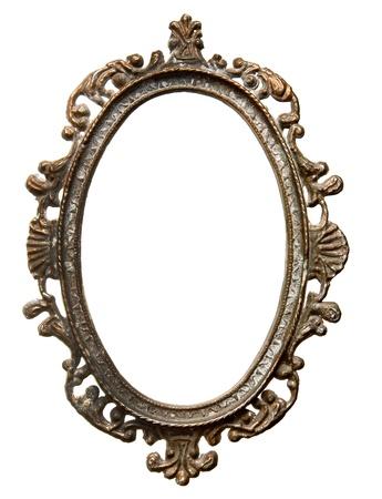 ovalo: Vintage marco ovalado de metal sobre fondo blanco