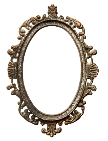 Vintage metal oval frame isolated on white background