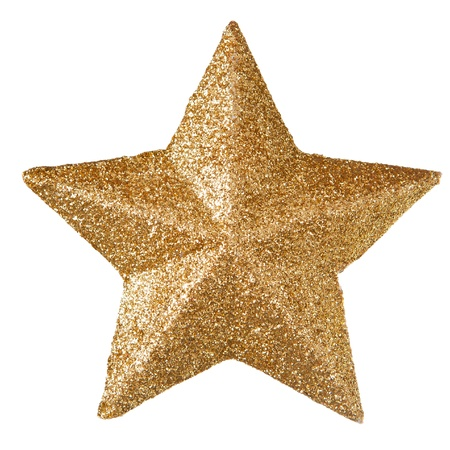 Gold christmas star isolated on white Stock Photo
