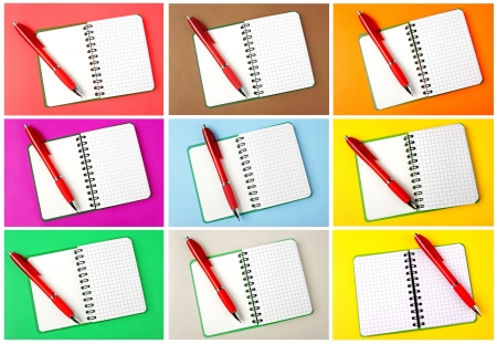 Set of opened notebooks squared pages with red pen over them on color backgrounds  photo