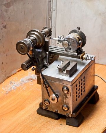 Self made lathe on table Stock Photo - 14409357