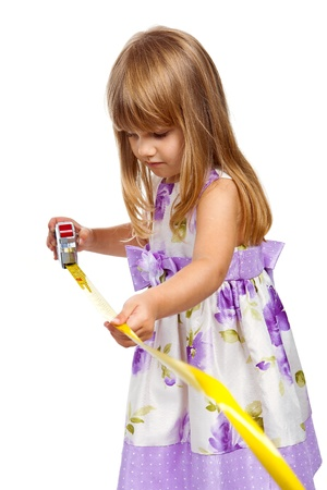 Little girl with measuring tape isolated on white background Stock Photo - 15622531