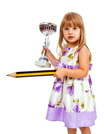 Little girl with big pencil and sport cup isolated on white photo