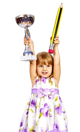 Little girl with big pencil and sport cup isolated on white