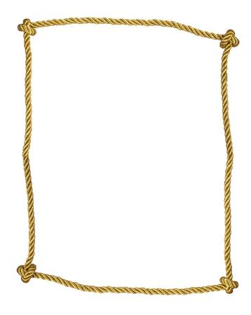Frame van gouden touw geà ¯ soleerd op wit Stockfoto