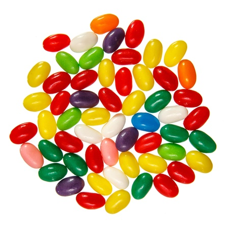 Color jelly beans isolated over white background