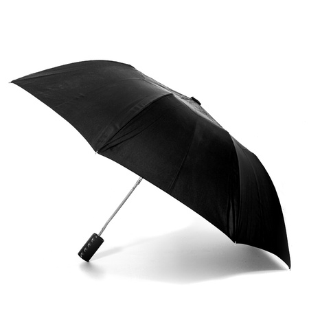 Opened black umbrella on white background photo