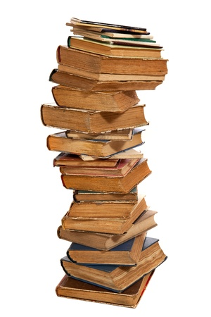 Stack of old hardcover books isolated on white Stock Photo - 17043214