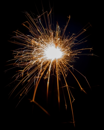 Bengal fire sparkle on black background Stock Photo