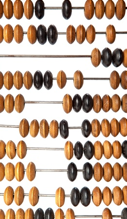 Old wooden abacus beads closeup  photo