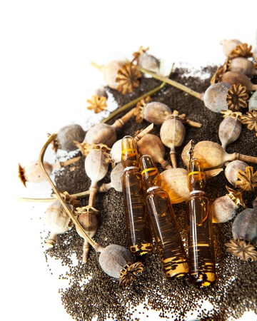 opiate: Drug ampoules on the pile of poppys seeds and poppy heads