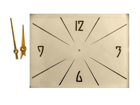 Vintage clock face arrows isolated on white with clipping path photo
