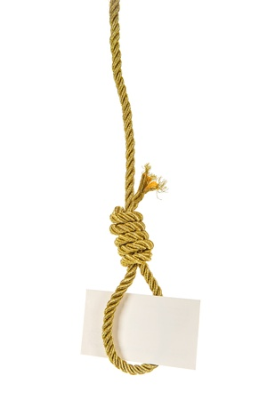 White card with copy space hanging on gold rope hangman noose isolated over white photo