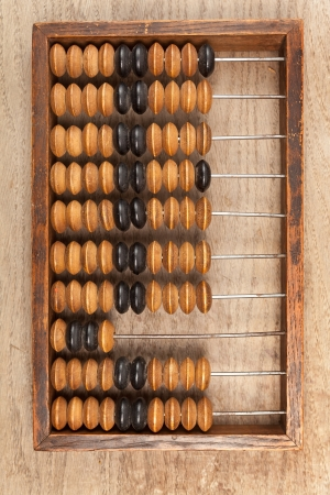 Old accounting wooden abacus on brown background photo