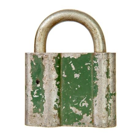 Old padlock isolated over white background Stock Photo - 20413153